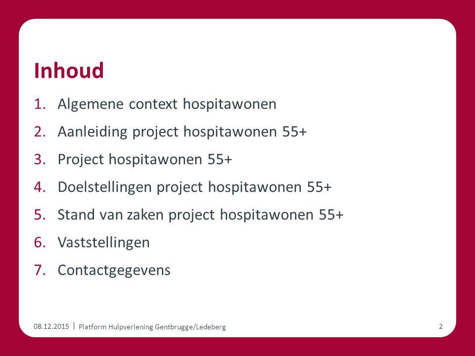 | Inhoud 1.Algemene context hospitawonen 2.Aanleiding project hospitawonen 55+ 3.Project hospitawonen 55+ 4.Doelstellingen project hospitawonen 55+ 5.