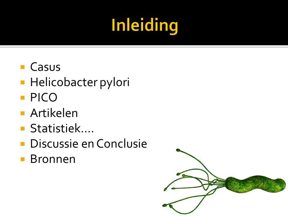  Casus  Helicobacter pylori  PICO  Artikelen  Statistiek….  Discussie en Conclusie  Bronnen