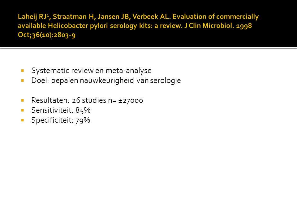  Systematic review en meta-analyse  Doel: bepalen nauwkeurigheid van serologie  Resultaten: 26 studies n= ±27000  Sensitiviteit: 85%  Specificite
