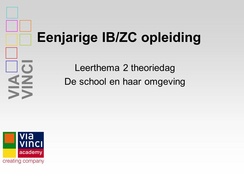 VIAVINCI Eenjarige IB/ZC opleiding 1 Leerthema 2 theoriedag De school en haar omgeving
