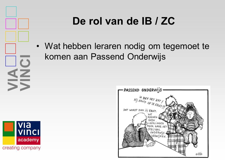 VIAVINCI De rol van de IB / ZC Wat hebben leraren nodig om tegemoet te komen aan Passend Onderwijs