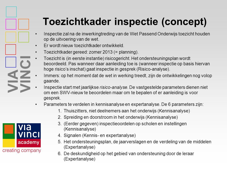 VIAVINCI Toezichtkader inspectie (concept) Inspectie zal na de inwerkingtreding van de Wet Passend Onderwijs toezicht houden op de uitvoering van de wet.
