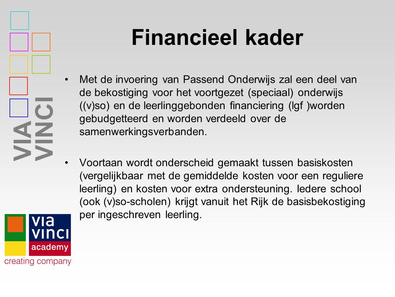 VIAVINCI Financieel kader Met de invoering van Passend Onderwijs zal een deel van de bekostiging voor het voortgezet (speciaal) onderwijs ((v)so) en de leerlinggebonden financiering (lgf )worden gebudgetteerd en worden verdeeld over de samenwerkingsverbanden.