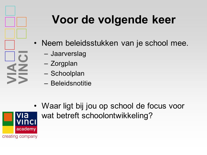 VIAVINCI Voor de volgende keer Neem beleidsstukken van je school mee.