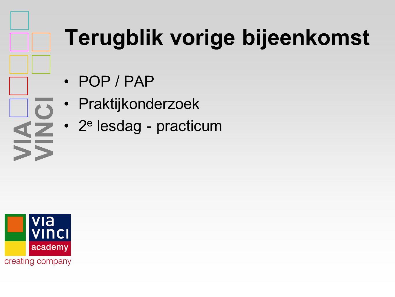 VIAVINCI Terugblik vorige bijeenkomst POP / PAP Praktijkonderzoek 2 e lesdag - practicum