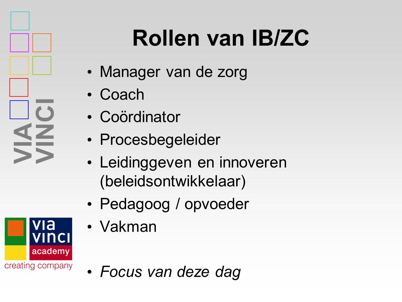 VIAVINCI Rollen van IB/ZC Manager van de zorg Coach Coördinator Procesbegeleider Leidinggeven en innoveren (beleidsontwikkelaar) Pedagoog / opvoeder Vakman Focus van deze dag