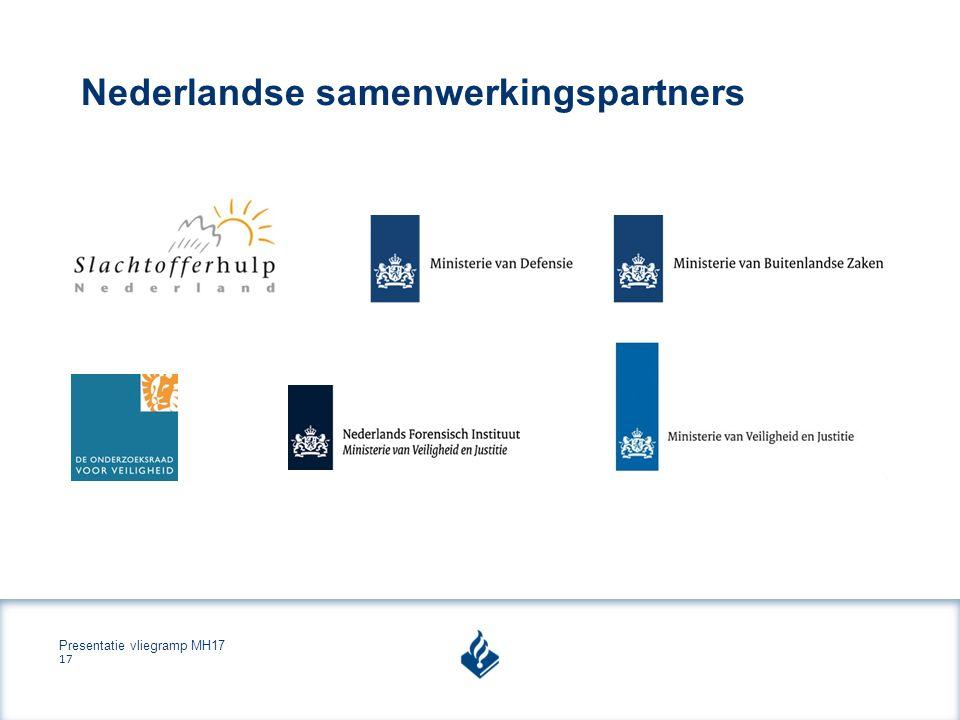 Presentatie vliegramp MH17 17 Nederlandse samenwerkingspartners