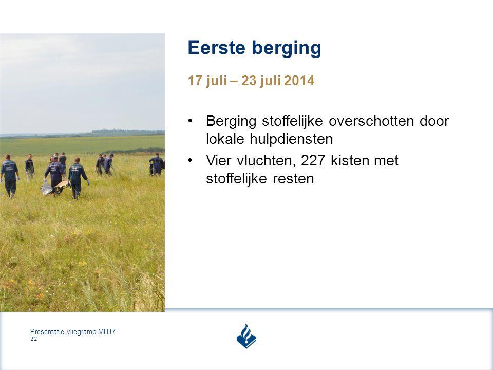 Presentatie vliegramp MH17 22 Eerste berging 17 juli – 23 juli 2014 Berging stoffelijke overschotten door lokale hulpdiensten Vier vluchten, 227 kisten met stoffelijke resten