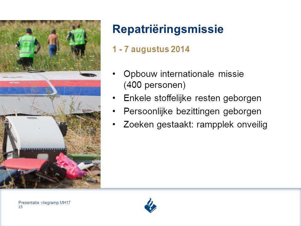 Presentatie vliegramp MH17 25 Repatriëringsmissie 1 - 7 augustus 2014 Opbouw internationale missie (400 personen) Enkele stoffelijke resten geborgen Persoonlijke bezittingen geborgen Zoeken gestaakt: rampplek onveilig