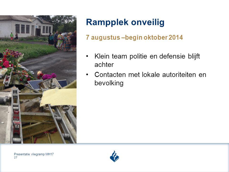 Presentatie vliegramp MH17 27 Rampplek onveilig 7 augustus –begin oktober 2014 Klein team politie en defensie blijft achter Contacten met lokale autoriteiten en bevolking