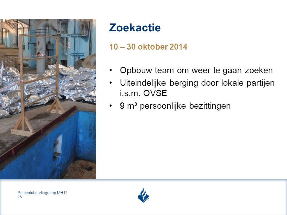 Presentatie vliegramp MH17 28 Zoekactie 10 – 30 oktober 2014 Opbouw team om weer te gaan zoeken Uiteindelijke berging door lokale partijen i.s.m.