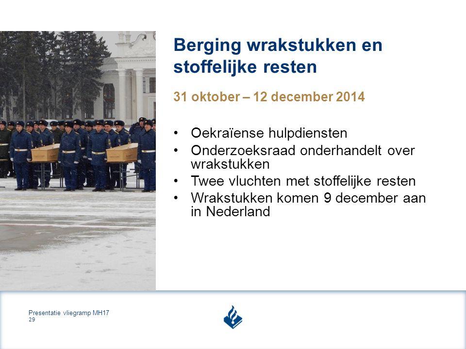 Presentatie vliegramp MH17 29 Berging wrakstukken en stoffelijke resten 31 oktober – 12 december 2014 Oekraïense hulpdiensten Onderzoeksraad onderhandelt over wrakstukken Twee vluchten met stoffelijke resten Wrakstukken komen 9 december aan in Nederland