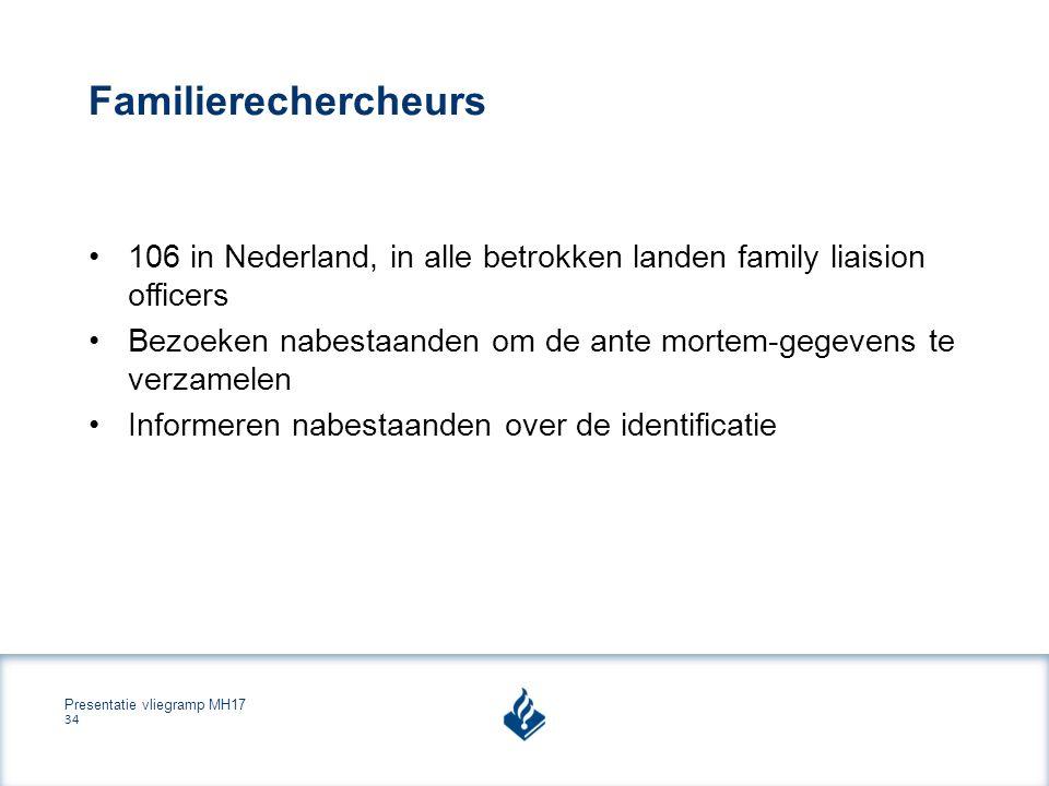 Presentatie vliegramp MH17 34 Familierechercheurs 106 in Nederland, in alle betrokken landen family liaision officers Bezoeken nabestaanden om de ante mortem-gegevens te verzamelen Informeren nabestaanden over de identificatie