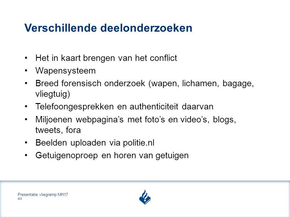 Presentatie vliegramp MH17 43 Verschillende deelonderzoeken Het in kaart brengen van het conflict Wapensysteem Breed forensisch onderzoek (wapen, lichamen, bagage, vliegtuig) Telefoongesprekken en authenticiteit daarvan Miljoenen webpagina's met foto's en video's, blogs, tweets, fora Beelden uploaden via politie.nl Getuigenoproep en horen van getuigen