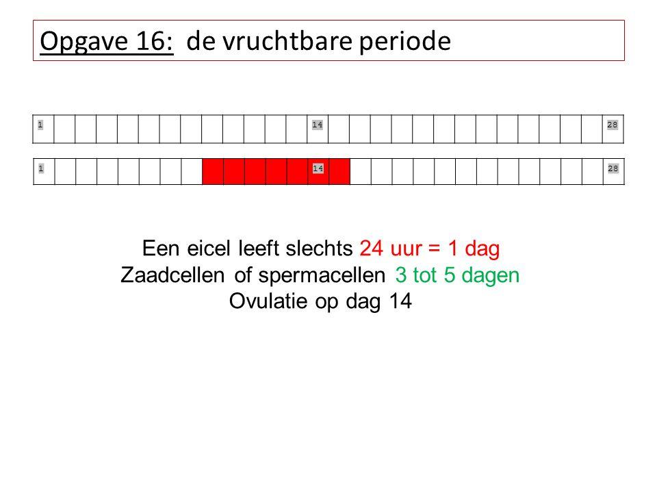 Opgave 16: de vruchtbare periode 11428 11428 Een eicel leeft slechts 24 uur = 1 dag Zaadcellen of spermacellen 3 tot 5 dagen Ovulatie op dag 14
