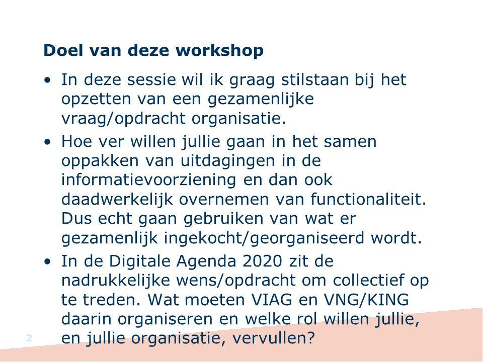 Doel van deze workshop In deze sessie wil ik graag stilstaan bij het opzetten van een gezamenlijke vraag/opdracht organisatie.