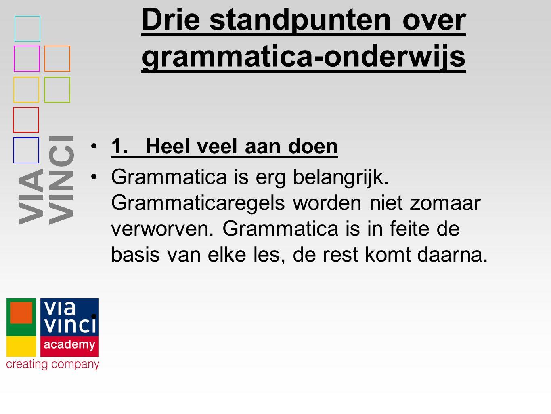 VIAVINCI Drie standpunten over grammatica-onderwijs 1.Heel veel aan doen Grammatica is erg belangrijk.