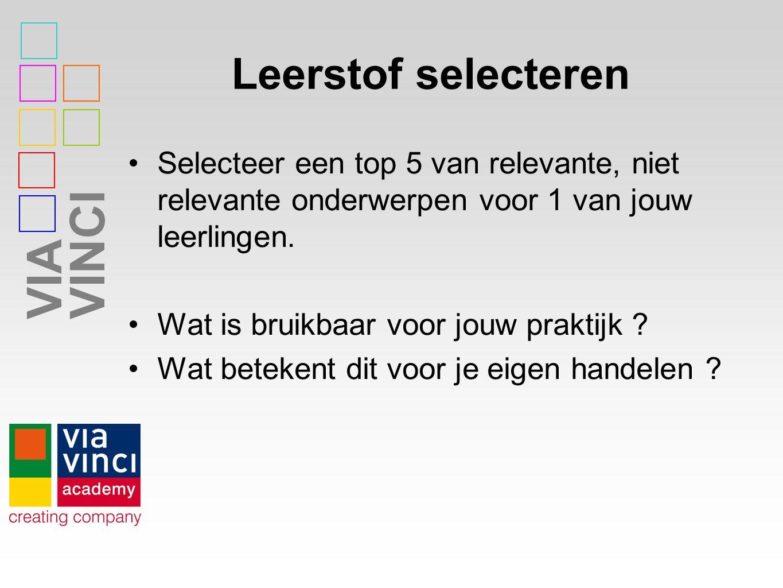 VIAVINCI Leerstof selecteren Selecteer een top 5 van relevante, niet relevante onderwerpen voor 1 van jouw leerlingen.