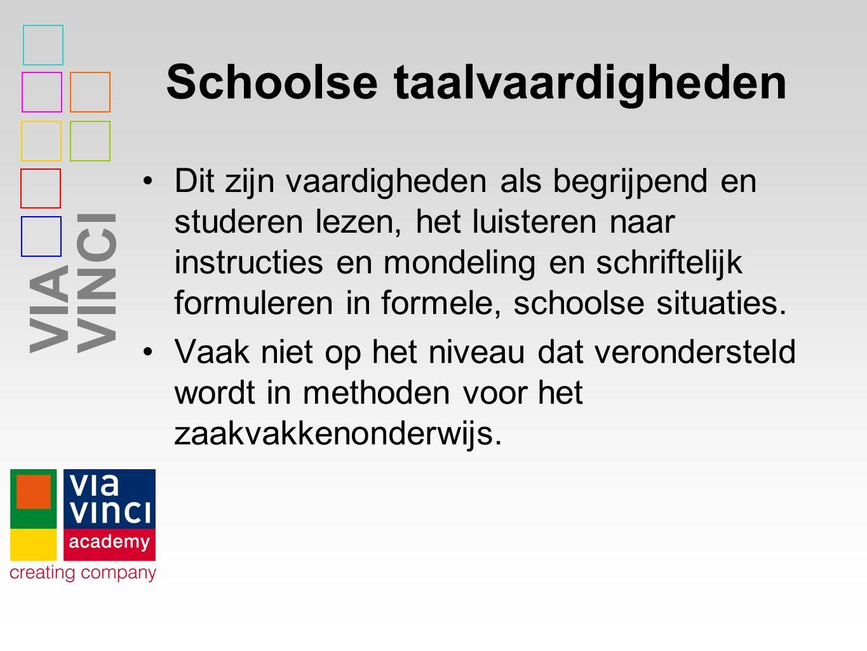 VIAVINCI Schoolse taalvaardigheden Dit zijn vaardigheden als begrijpend en studeren lezen, het luisteren naar instructies en mondeling en schriftelijk formuleren in formele, schoolse situaties.