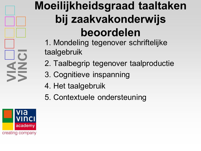VIAVINCI Moeilijkheidsgraad taaltaken bij zaakvakonderwijs beoordelen 1.