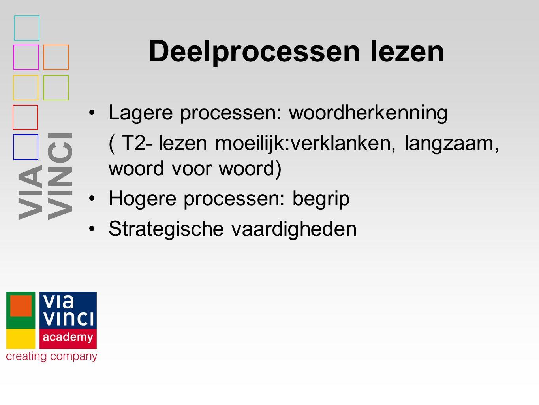 VIAVINCI Deelprocessen lezen Lagere processen: woordherkenning ( T2- lezen moeilijk:verklanken, langzaam, woord voor woord) Hogere processen: begrip Strategische vaardigheden