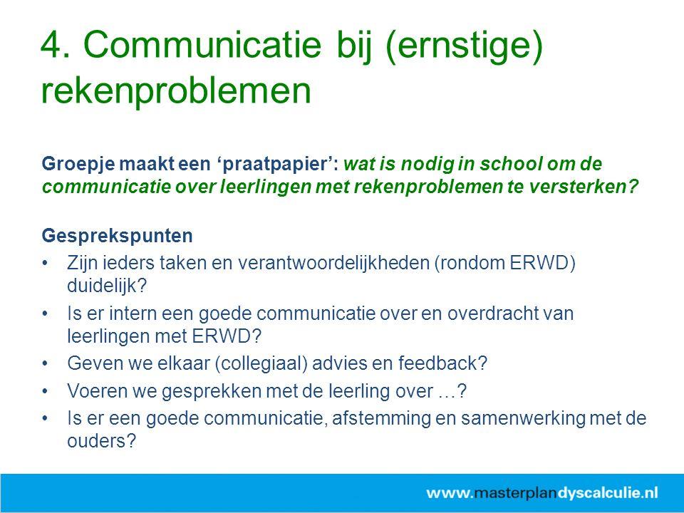 Groepje maakt een 'praatpapier': wat is nodig in school om de communicatie over leerlingen met rekenproblemen te versterken.