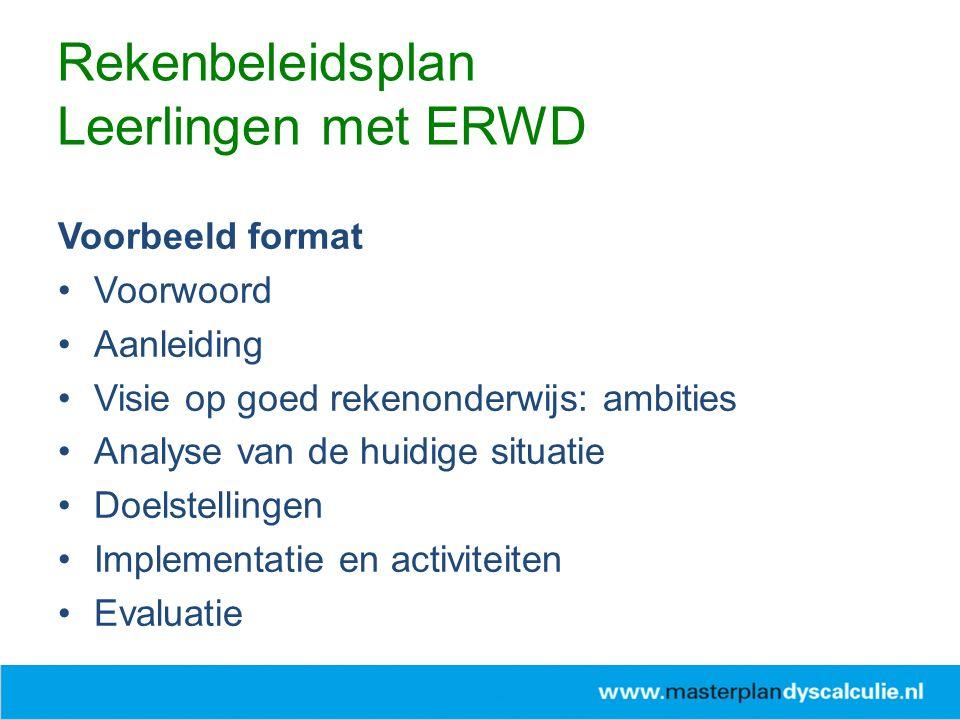 Voorbeeld format Voorwoord Aanleiding Visie op goed rekenonderwijs: ambities Analyse van de huidige situatie Doelstellingen Implementatie en activiteiten Evaluatie Rekenbeleidsplan Leerlingen met ERWD