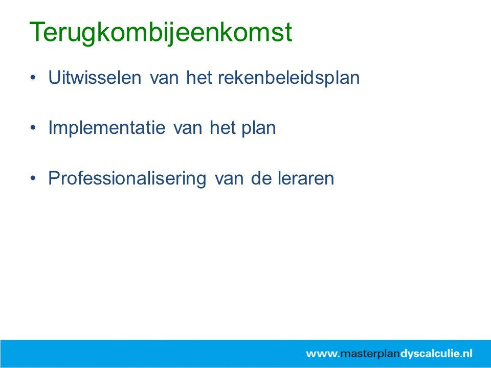 Uitwisselen van het rekenbeleidsplan Implementatie van het plan Professionalisering van de leraren Terugkombijeenkomst
