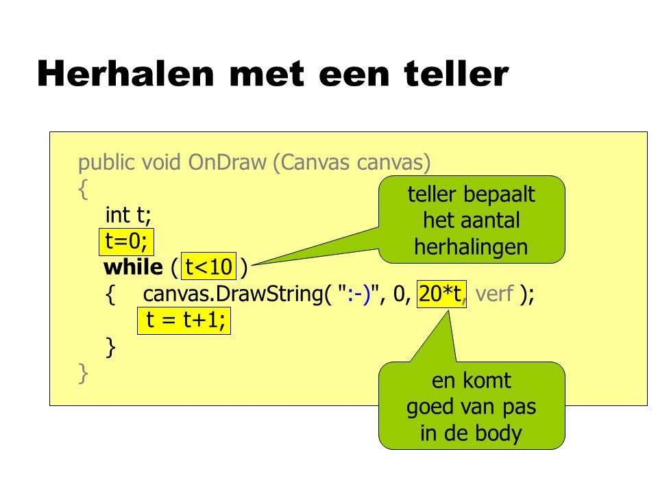 Herhalen met een teller public void OnDraw (Canvas canvas) { int t; t=0; while ( t<10 ) { canvas.DrawString( :-) , 0, 20*t, verf ); t = t+1; } teller bepaalt het aantal herhalingen en komt goed van pas in de body