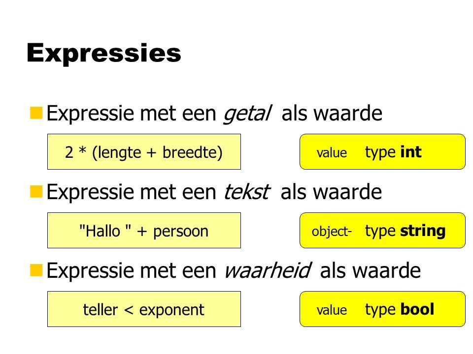 Expressies nExpressie met een getal als waarde nExpressie met een tekst als waarde nExpressie met een waarheid als waarde 2 * (lengte + breedte) Hallo + persoon teller < exponent type int type bool type string value object- value