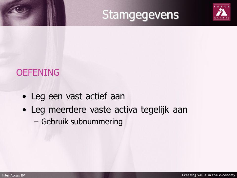 Inter Access BV Stamgegevens OEFENING Leg een vast actief aan Leg meerdere vaste activa tegelijk aan – –Gebruik subnummering