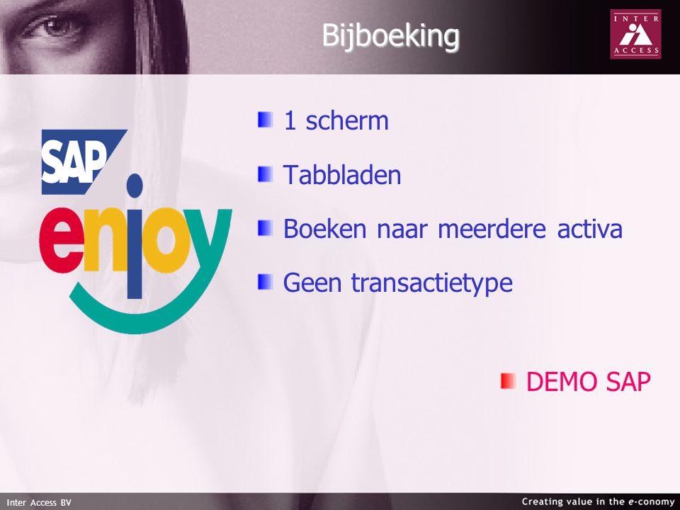 Inter Access BV Bijboeking 1 scherm Tabbladen Boeken naar meerdere activa Geen transactietype DEMO SAP