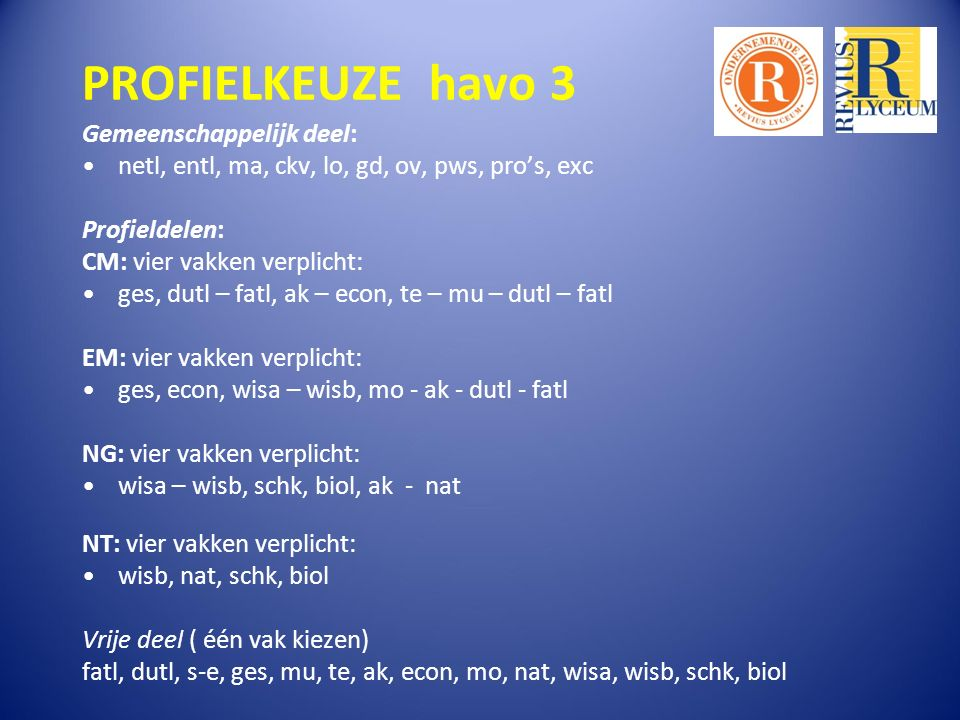 PROFIELKEUZE havo 3 Gemeenschappelijk deel: netl, entl, ma, ckv, lo, gd, ov, pws, pro's, exc Profieldelen: CM: vier vakken verplicht: ges, dutl – fatl, ak – econ, te – mu – dutl – fatl EM: vier vakken verplicht: ges, econ, wisa – wisb, mo - ak - dutl - fatl NG: vier vakken verplicht: wisa – wisb, schk, biol, ak - nat NT: vier vakken verplicht: wisb, nat, schk, biol Vrije deel ( één vak kiezen) fatl, dutl, s-e, ges, mu, te, ak, econ, mo, nat, wisa, wisb, schk, biol
