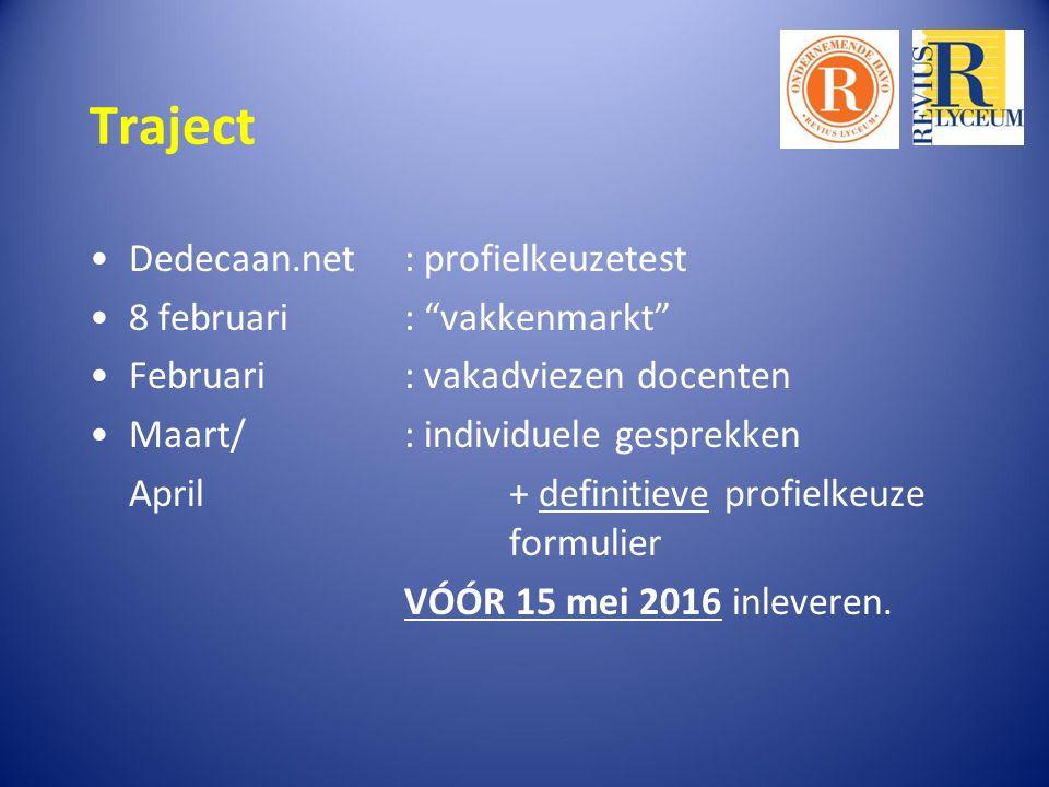Traject Dedecaan.net: profielkeuzetest 8 februari : vakkenmarkt Februari : vakadviezen docenten Maart/ : individuele gesprekken April+ definitieve profielkeuze formulier VÓÓR 15 mei 2016 inleveren.