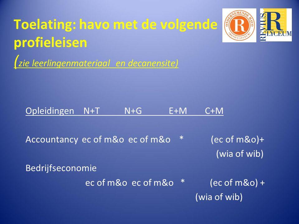 Toelating: havo met de volgende profieleisen ( zie leerlingenmateriaal en decanensite) Opleidingen N+T N+G E+M C+M Accountancy ec of m&o ec of m&o * (ec of m&o)+ (wia of wib) Bedrijfseconomie ec of m&o ec of m&o * (ec of m&o) + (wia of wib)