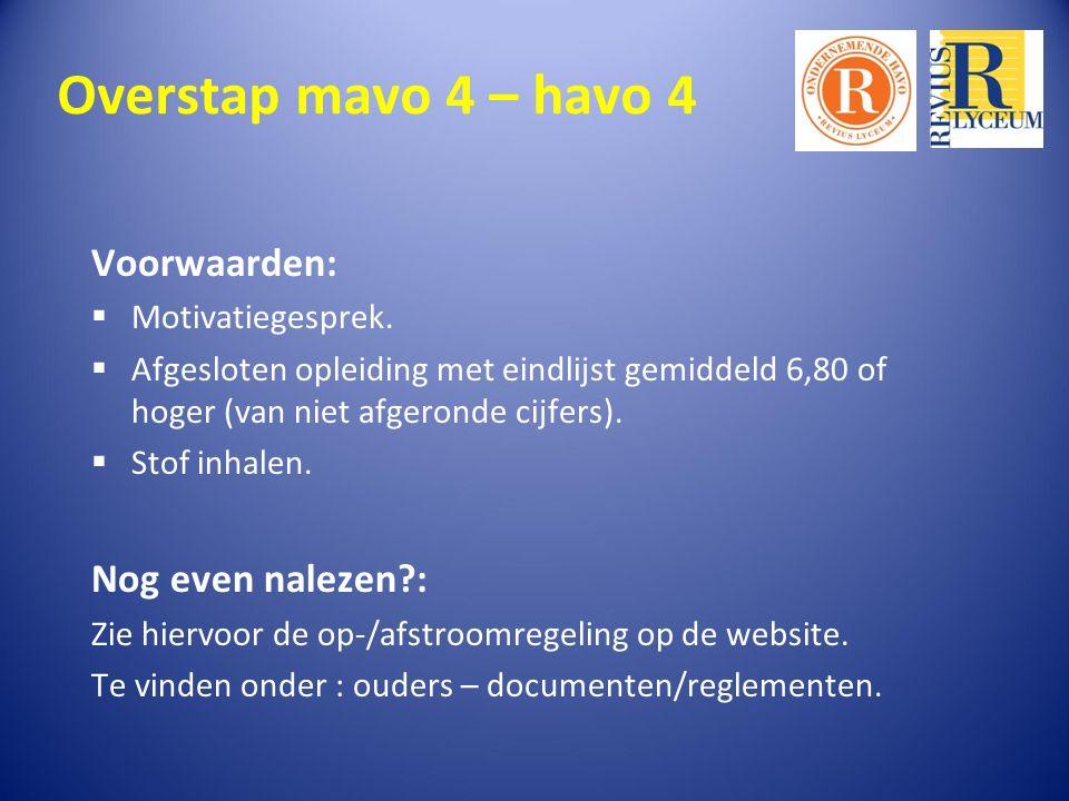 Overstap mavo 4 – havo 4 Voorwaarden:  Motivatiegesprek.