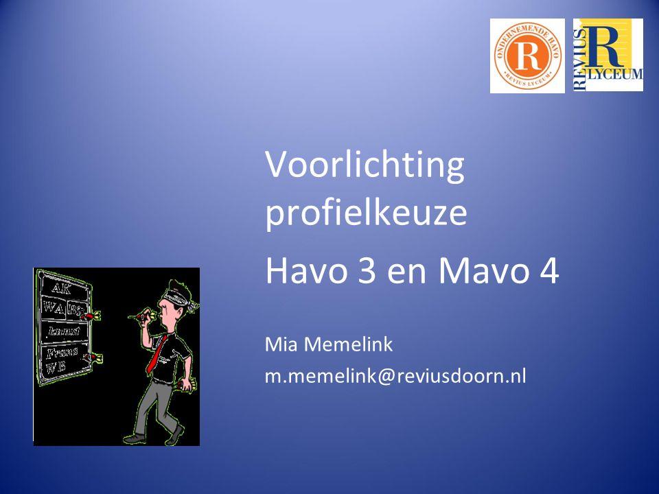 Voorlichting profielkeuze Havo 3 en Mavo 4 Mia Memelink m.memelink@reviusdoorn.nl