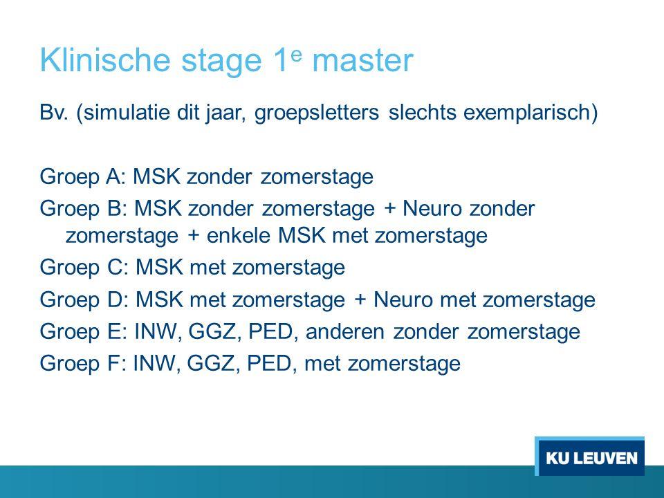 Klinische stage 1 e master Bv. (simulatie dit jaar, groepsletters slechts exemplarisch) Groep A: MSK zonder zomerstage Groep B: MSK zonder zomerstage