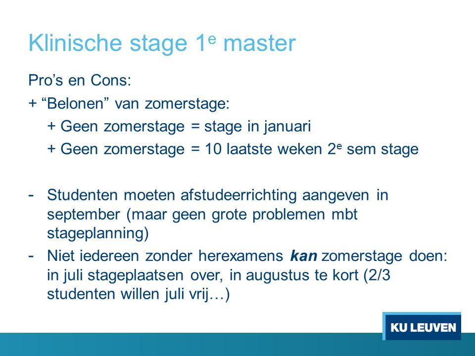 """Klinische stage 1 e master Pro's en Cons: + """"Belonen"""" van zomerstage: + Geen zomerstage = stage in januari + Geen zomerstage = 10 laatste weken 2 e se"""