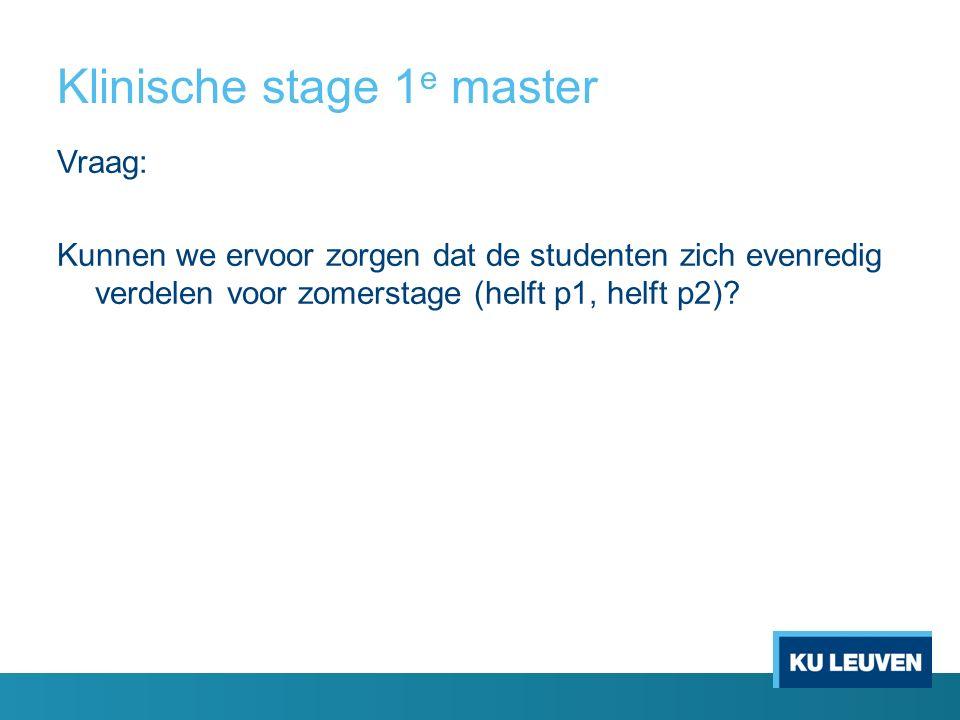 Klinische stage 1 e master Vraag: Kunnen we ervoor zorgen dat de studenten zich evenredig verdelen voor zomerstage (helft p1, helft p2)
