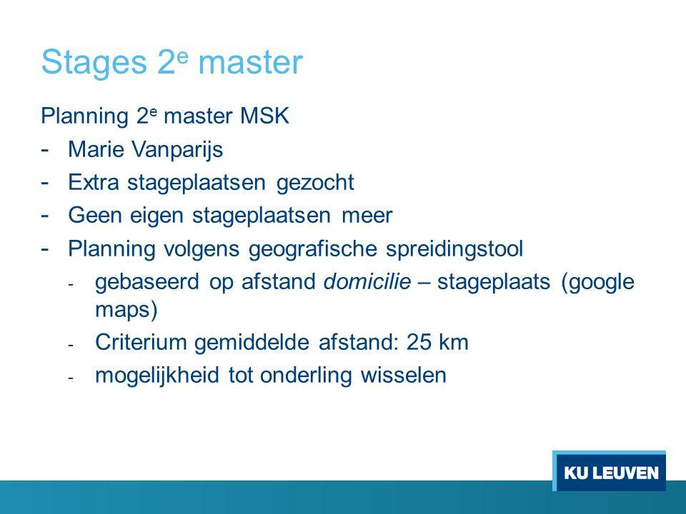 Stages 2 e master Planning 2 e master MSK - Marie Vanparijs - Extra stageplaatsen gezocht - Geen eigen stageplaatsen meer - Planning volgens geografis