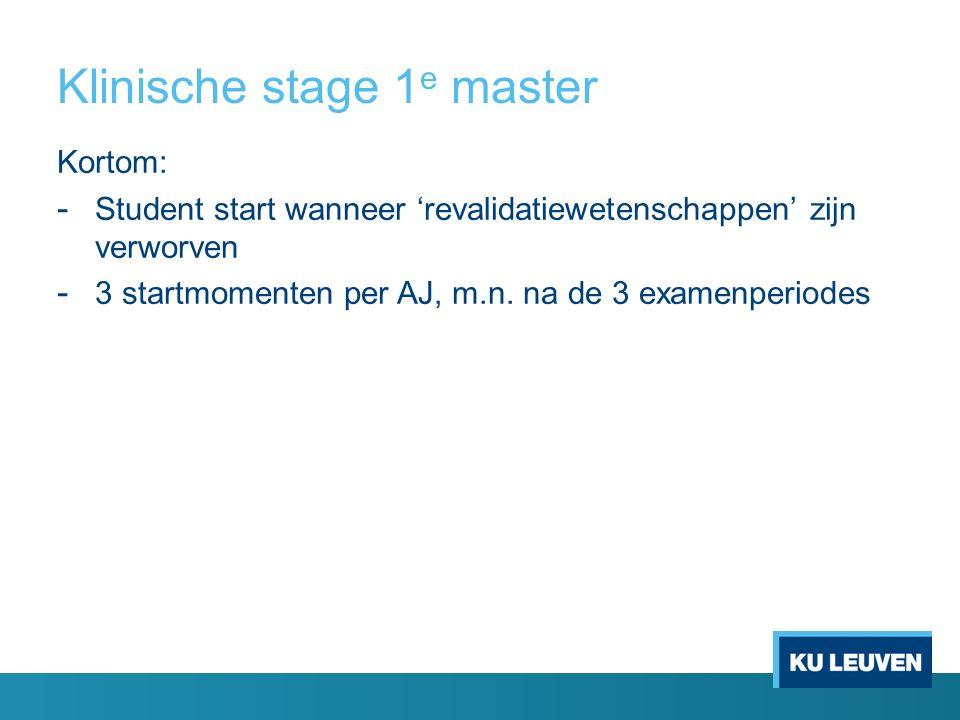 Klinische stage 1 e master Kortom: - Student start wanneer 'revalidatiewetenschappen' zijn verworven - 3 startmomenten per AJ, m.n. na de 3 examenperi