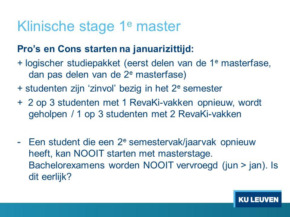 Klinische stage 1 e master Pro's en Cons starten na januarizittijd: + logischer studiepakket (eerst delen van de 1 e masterfase, dan pas delen van de 2 e masterfase) + studenten zijn 'zinvol' bezig in het 2 e semester + 2 op 3 studenten met 1 RevaKi-vakken opnieuw, wordt geholpen / 1 op 3 studenten met 2 RevaKi-vakken - Een student die een 2 e semestervak/jaarvak opnieuw heeft, kan NOOIT starten met masterstage.