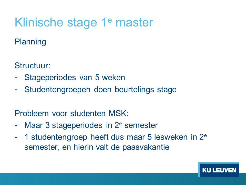 Klinische stage 1 e master Planning Structuur: - Stageperiodes van 5 weken - Studentengroepen doen beurtelings stage Probleem voor studenten MSK: - Maar 3 stageperiodes in 2 e semester - 1 studentengroep heeft dus maar 5 lesweken in 2 e semester, en hierin valt de paasvakantie