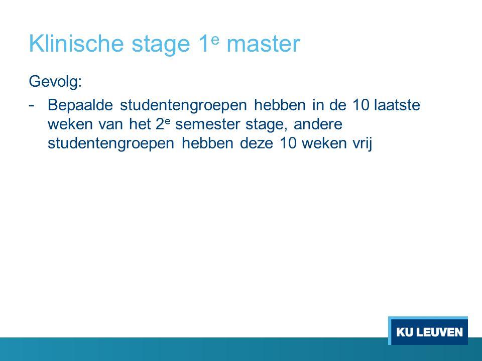 Klinische stage 1 e master Gevolg: - Bepaalde studentengroepen hebben in de 10 laatste weken van het 2 e semester stage, andere studentengroepen hebbe