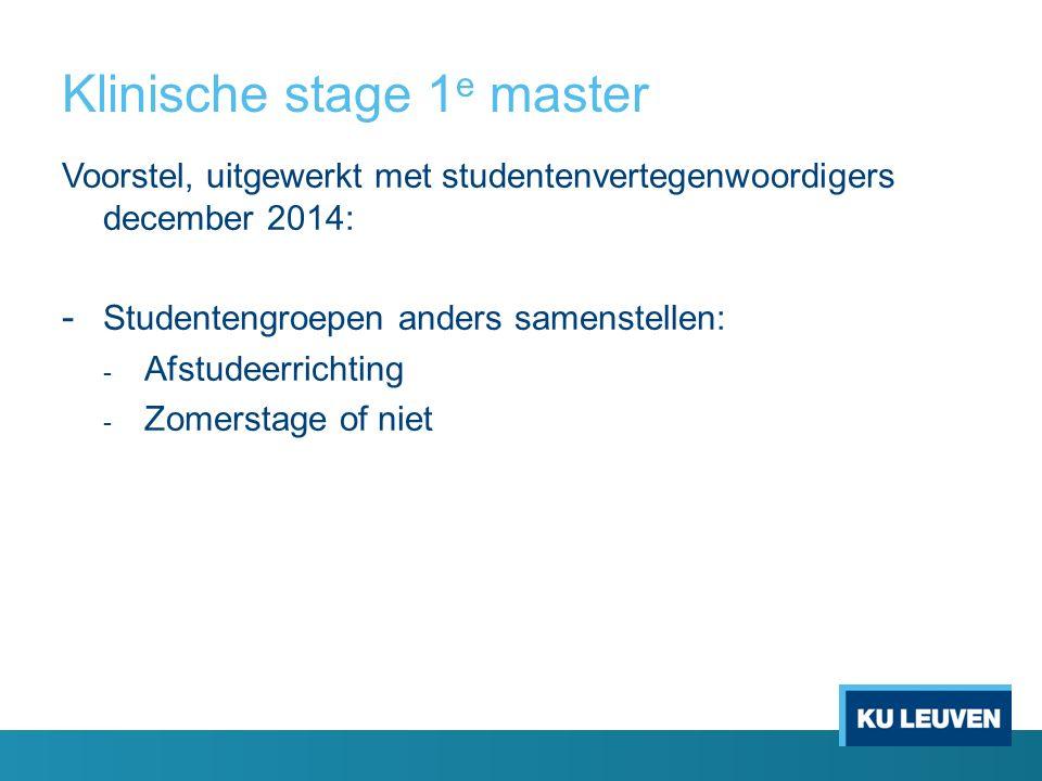 Klinische stage 1 e master Voorstel, uitgewerkt met studentenvertegenwoordigers december 2014: - Studentengroepen anders samenstellen: - Afstudeerrich