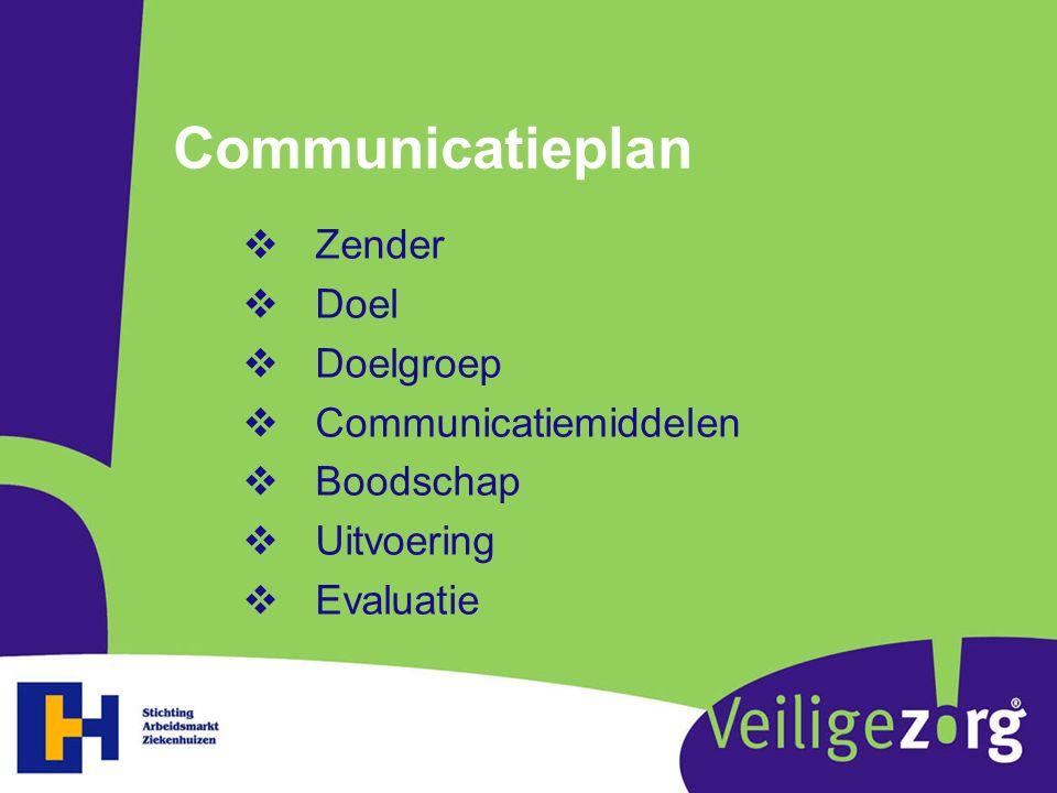 Communicatieplan  Zender  Doel  Doelgroep  Communicatiemiddelen  Boodschap  Uitvoering  Evaluatie
