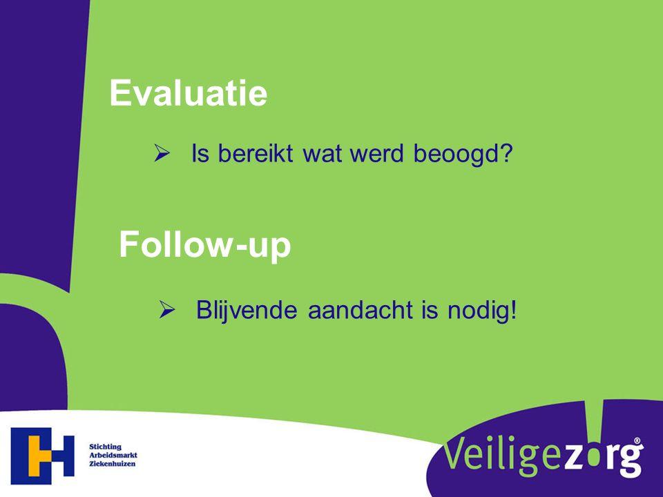 Evaluatie  Is bereikt wat werd beoogd? Follow-up  Blijvende aandacht is nodig!