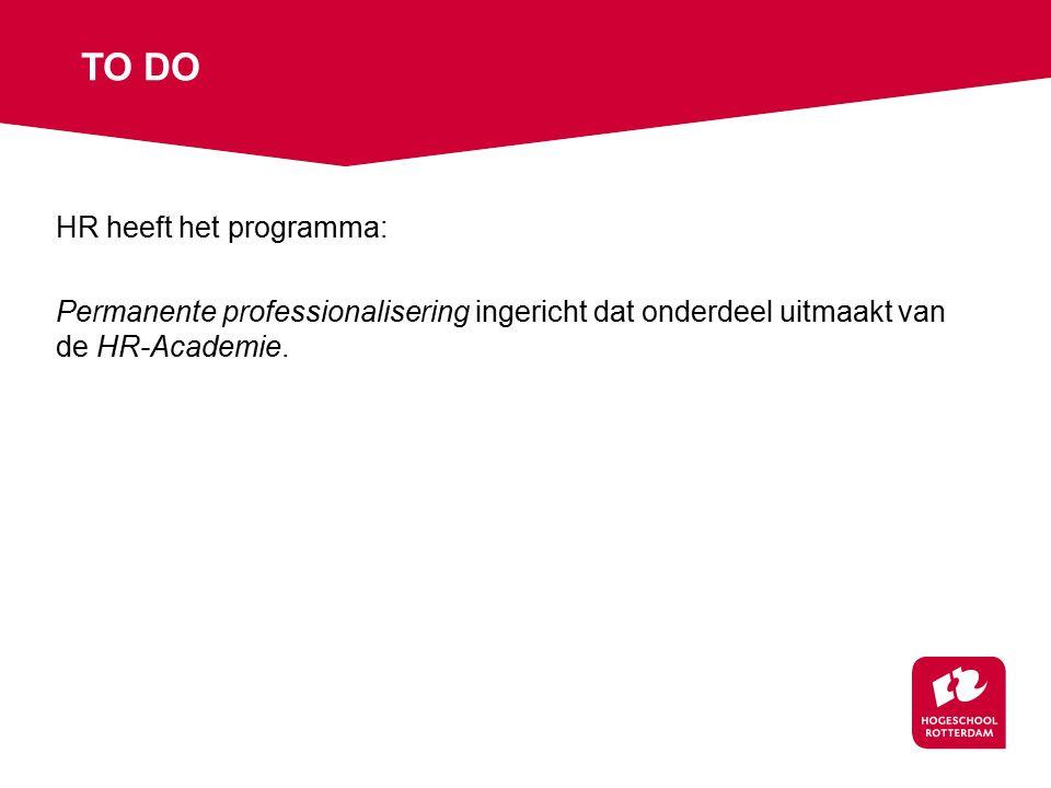 HR heeft het programma: Permanente professionalisering ingericht dat onderdeel uitmaakt van de HR-Academie.