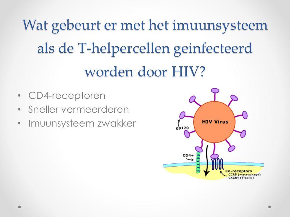 Wat gebeurt er met het imuunsysteem als de T-helpercellen geinfecteerd worden door HIV? CD4-receptoren Sneller vermeerderen Imuunsysteem zwakker